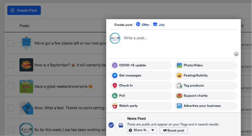 Facebook Business Page posting options