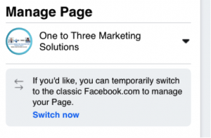 Facebook Business Page, Manage Page option