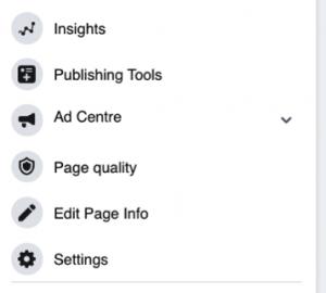 Facebook Business Page Menu